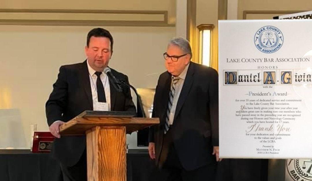 Daniel A. Gioia Awarded with President's Award