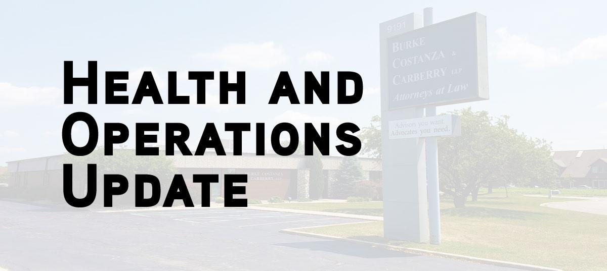 Health & Operations Update – Coronavirus – COVID-19